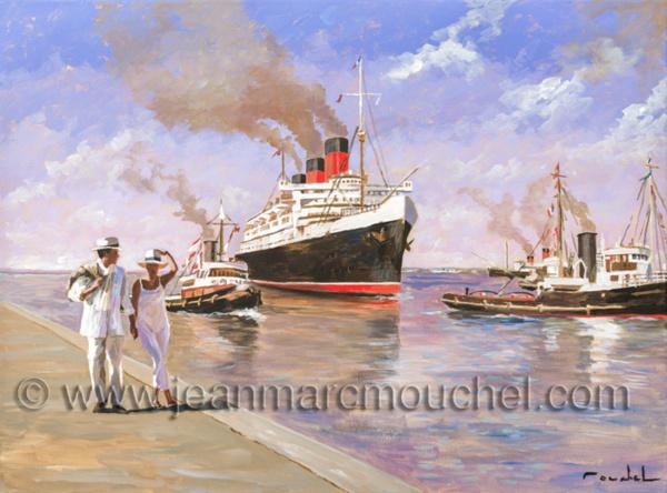 Arrivée en queen Mary à Cherbourg- Jean-Marc Mouchel - cdv0170 (Nouveauté 2019)